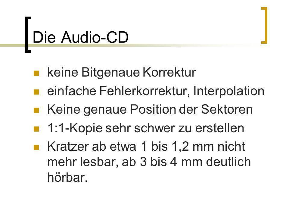 Die Audio-CD keine Bitgenaue Korrektur einfache Fehlerkorrektur, Interpolation Keine genaue Position der Sektoren 1:1-Kopie sehr schwer zu erstellen K