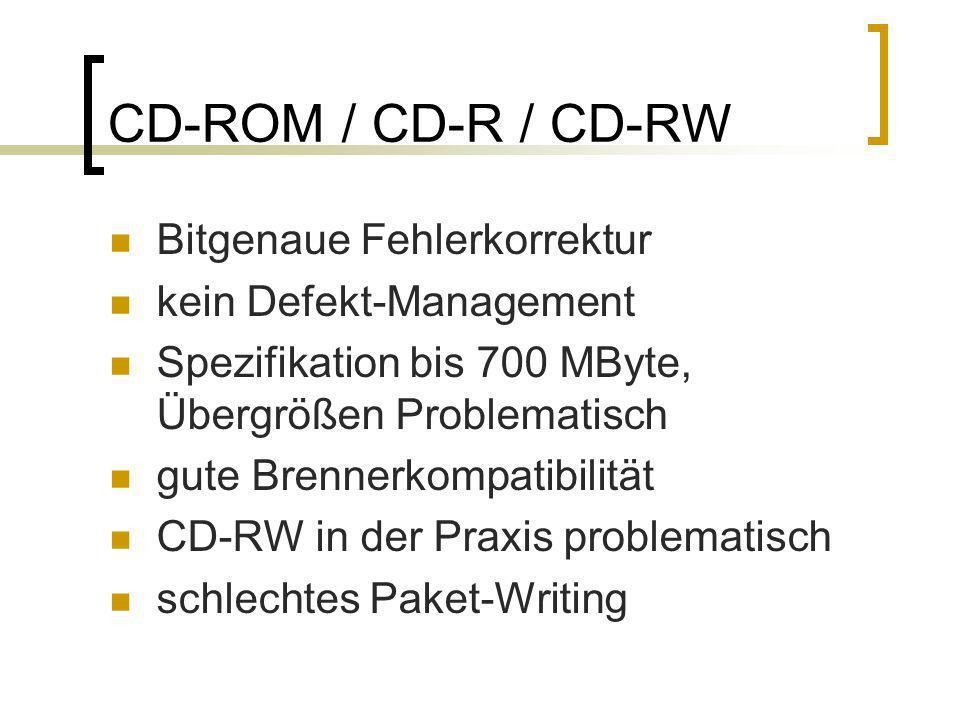 CD-ROM / CD-R / CD-RW Bitgenaue Fehlerkorrektur kein Defekt-Management Spezifikation bis 700 MByte, Übergrößen Problematisch gute Brennerkompatibilitä