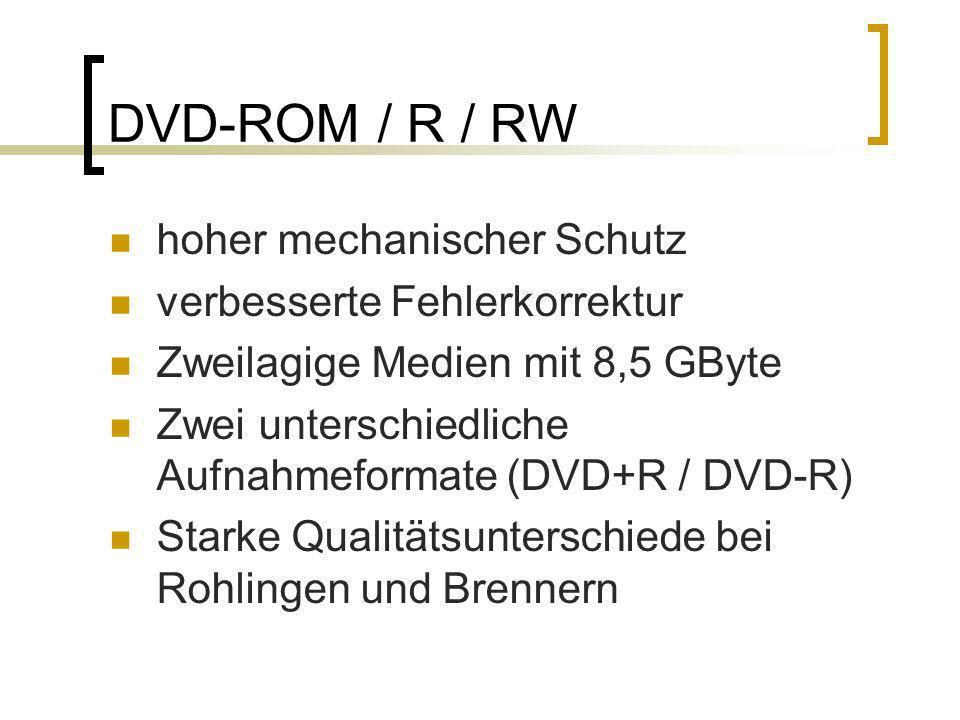 DVD-ROM / R / RW hoher mechanischer Schutz verbesserte Fehlerkorrektur Zweilagige Medien mit 8,5 GByte Zwei unterschiedliche Aufnahmeformate (DVD+R /