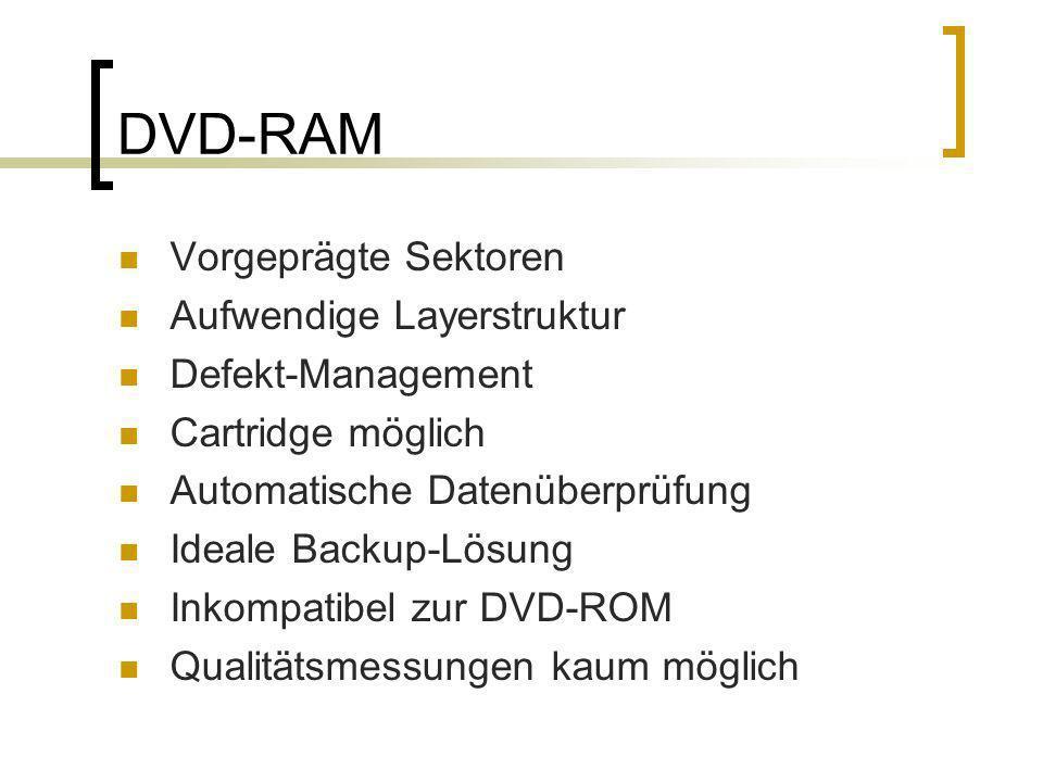 DVD-RAM Vorgeprägte Sektoren Aufwendige Layerstruktur Defekt-Management Cartridge möglich Automatische Datenüberprüfung Ideale Backup-Lösung Inkompati