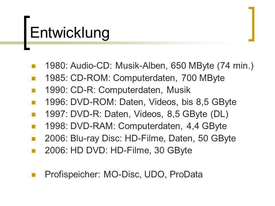 Entwicklung 1980: Audio-CD: Musik-Alben, 650 MByte (74 min.) 1985: CD-ROM: Computerdaten, 700 MByte 1990: CD-R: Computerdaten, Musik 1996: DVD-ROM: Da