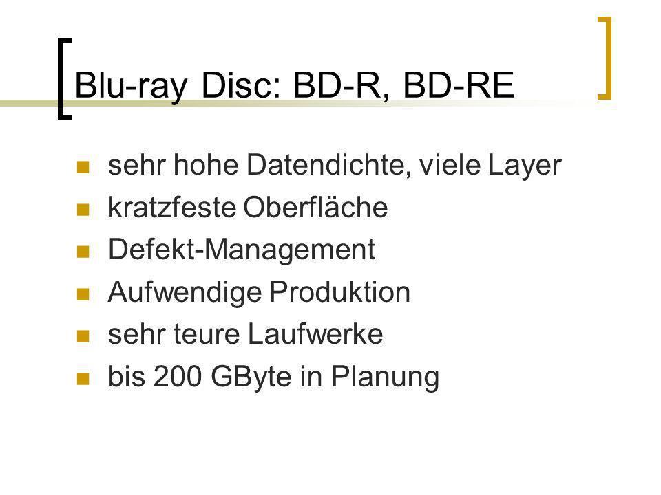 Blu-ray Disc: BD-R, BD-RE sehr hohe Datendichte, viele Layer kratzfeste Oberfläche Defekt-Management Aufwendige Produktion sehr teure Laufwerke bis 20