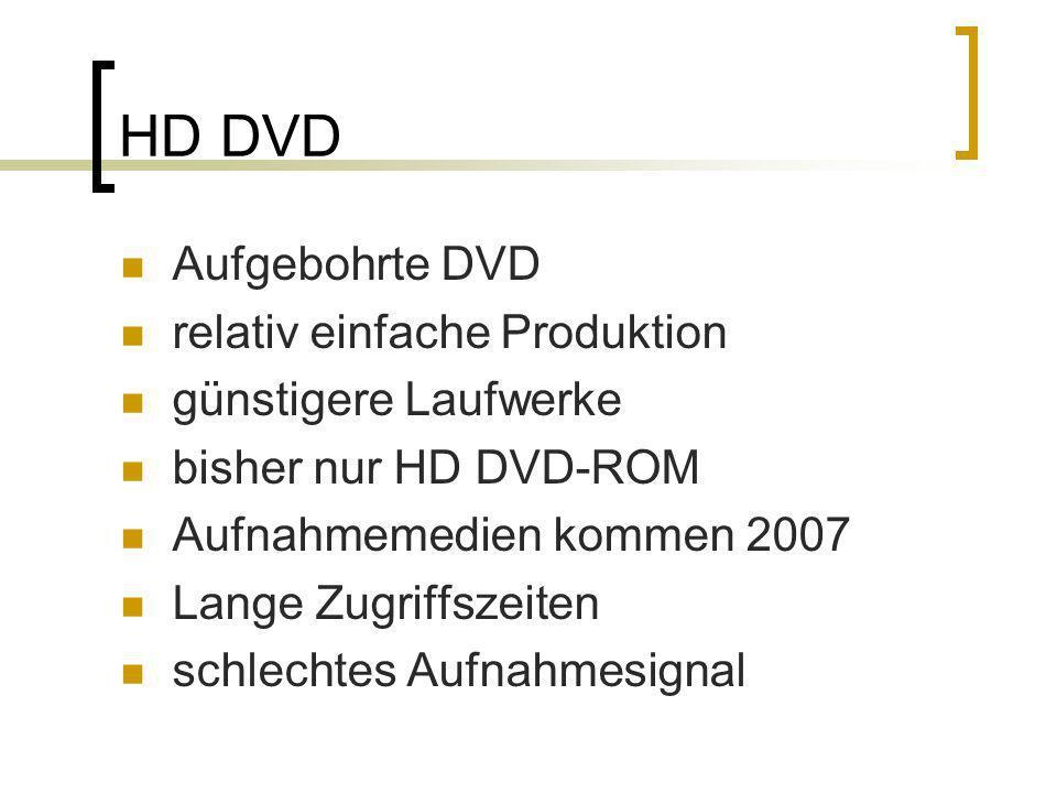 HD DVD Aufgebohrte DVD relativ einfache Produktion günstigere Laufwerke bisher nur HD DVD-ROM Aufnahmemedien kommen 2007 Lange Zugriffszeiten schlecht
