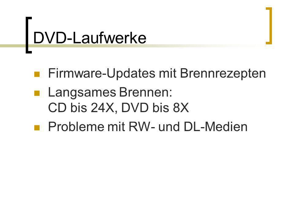 DVD-Laufwerke Firmware-Updates mit Brennrezepten Langsames Brennen: CD bis 24X, DVD bis 8X Probleme mit RW- und DL-Medien