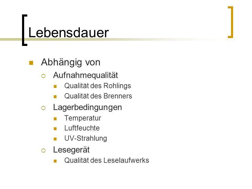 Lebensdauer Abhängig von Aufnahmequalität Qualität des Rohlings Qualität des Brenners Lagerbedingungen Temperatur Luftfeuchte UV-Strahlung Lesegerät Q