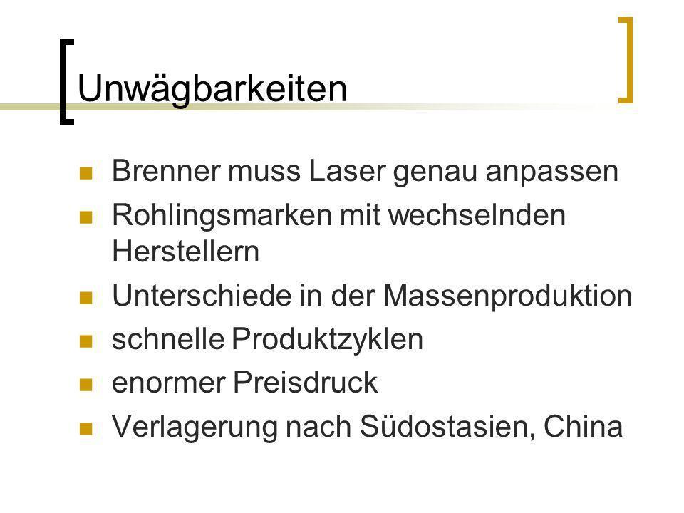 Unwägbarkeiten Brenner muss Laser genau anpassen Rohlingsmarken mit wechselnden Herstellern Unterschiede in der Massenproduktion schnelle Produktzykle
