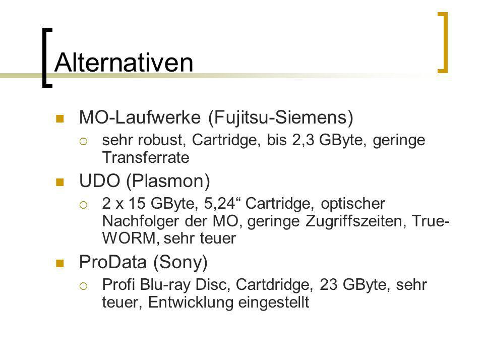 Alternativen MO-Laufwerke (Fujitsu-Siemens) sehr robust, Cartridge, bis 2,3 GByte, geringe Transferrate UDO (Plasmon) 2 x 15 GByte, 5,24 Cartridge, op