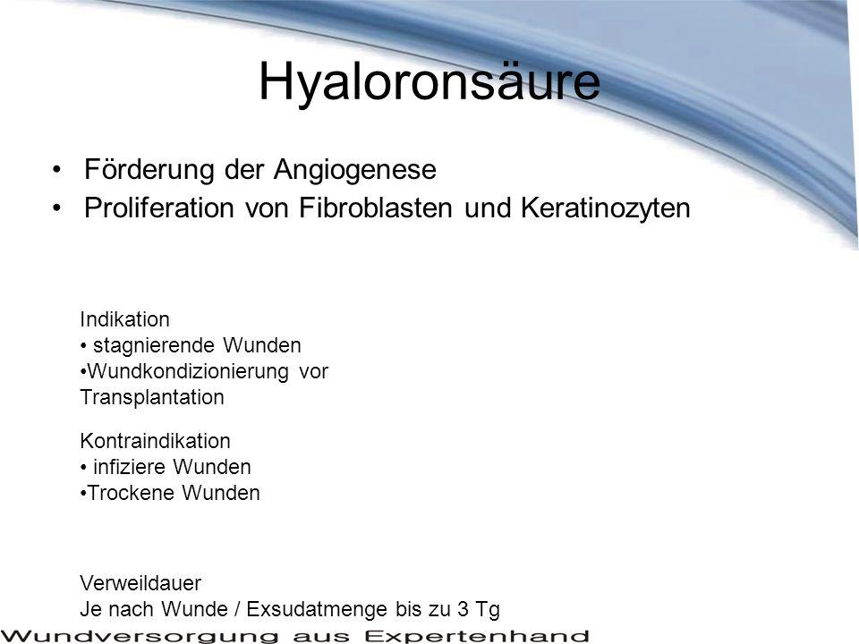 Hyaloronsäure Förderung der Angiogenese Proliferation von Fibroblasten und Keratinozyten Indikation stagnierende Wunden Wundkondizionierung vor Transp