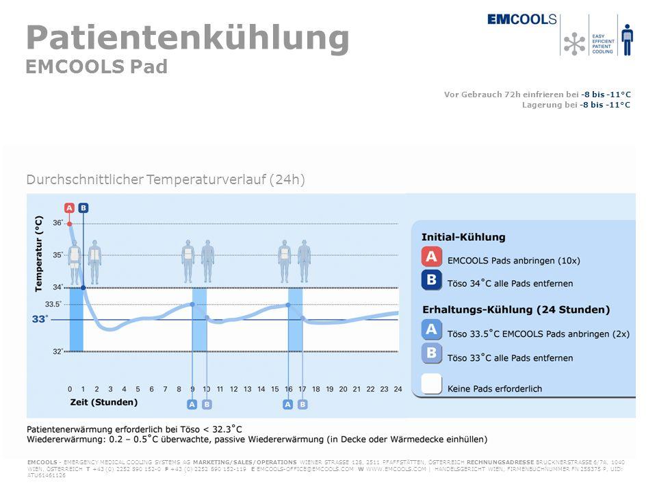 Patientenkühlung EMCOOLS Pad Vor Gebrauch 72h einfrieren bei -8 bis -11°C Lagerung bei -8 bis -11°C EMCOOLS - EMERGENCY MEDICAL COOLING SYSTEMS AG MARKETING/SALES/OPERATIONS WIENER STRASSE 128, 2511 PFAFFSTÄTTEN, ÖSTERREICH RECHNUNGSADRESSE BRUCKNERSTRASSE 6/7A, 1040 WIEN, ÖSTERREICH T +43 (0) 2252 890 152-0 F +43 (0) 2252 890 152-119 E EMCOOLS-OFFICE@EMCOOLS.COM W WWW.EMCOOLS.COM | HANDELSGERICHT WIEN, FIRMENBUCHNUMMER FN 258375 P, UID: ATU61461126 Durchschnittlicher Temperaturverlauf (24h)