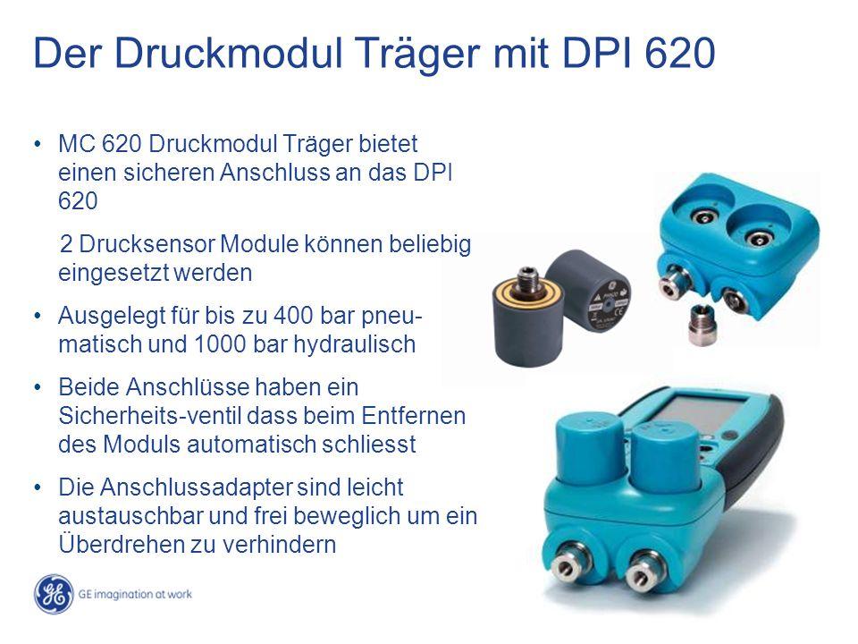 Der Druckmodul Träger mit DPI 620 MC 620 Druckmodul Träger bietet einen sicheren Anschluss an das DPI 620 2 Drucksensor Module können beliebig eingesetzt werden Ausgelegt für bis zu 400 bar pneu- matisch und 1000 bar hydraulisch Beide Anschlüsse haben ein Sicherheits-ventil dass beim Entfernen des Moduls automatisch schliesst Die Anschlussadapter sind leicht austauschbar und frei beweglich um ein Überdrehen zu verhindern