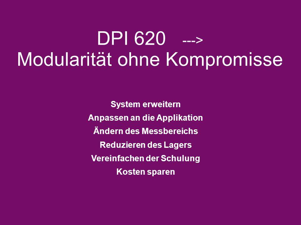 DPI 620 ---> Modularität ohne Kompromisse System erweitern Anpassen an die Applikation Ändern des Messbereichs Reduzieren des Lagers Vereinfachen der Schulung Kosten sparen