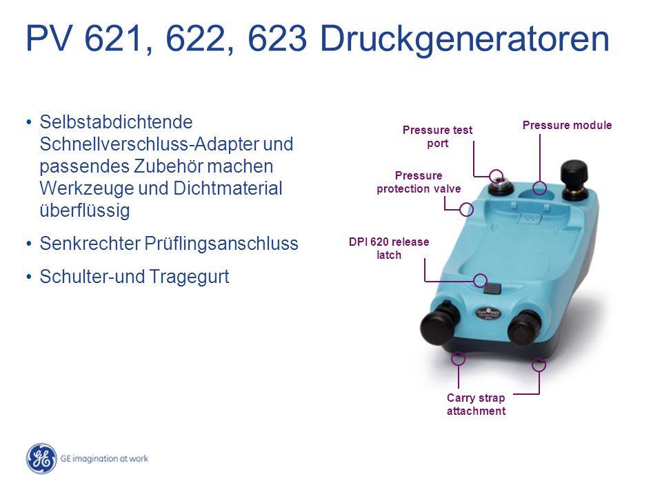 PV 621, 622, 623 Druckgeneratoren Selbstabdichtende Schnellverschluss-Adapter und passendes Zubehör machen Werkzeuge und Dichtmaterial überflüssig Sen
