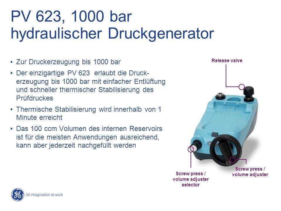 PV 623, 1000 bar hydraulischer Druckgenerator Zur Druckerzeugung bis 1000 bar Der einzigartige PV 623 erlaubt die Druck- erzeugung bis 1000 bar mit ei