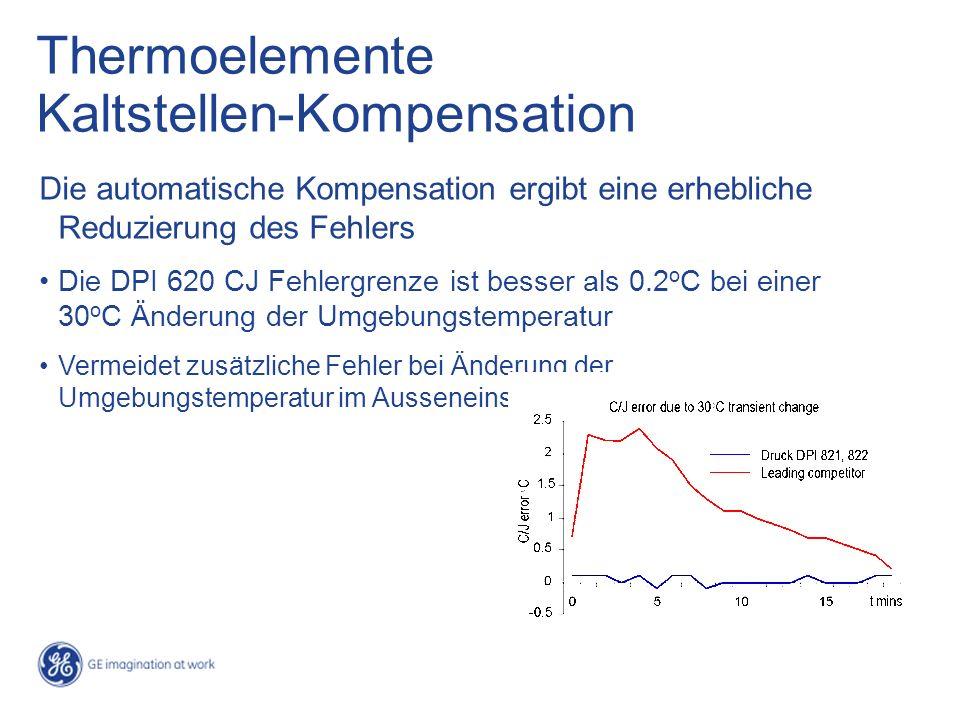 Thermoelemente Kaltstellen-Kompensation Die automatische Kompensation ergibt eine erhebliche Reduzierung des Fehlers Die DPI 620 CJ Fehlergrenze ist besser als 0.2 o C bei einer 30 o C Änderung der Umgebungstemperatur Vermeidet zusätzliche Fehler bei Änderung der Umgebungstemperatur im Ausseneinsatz
