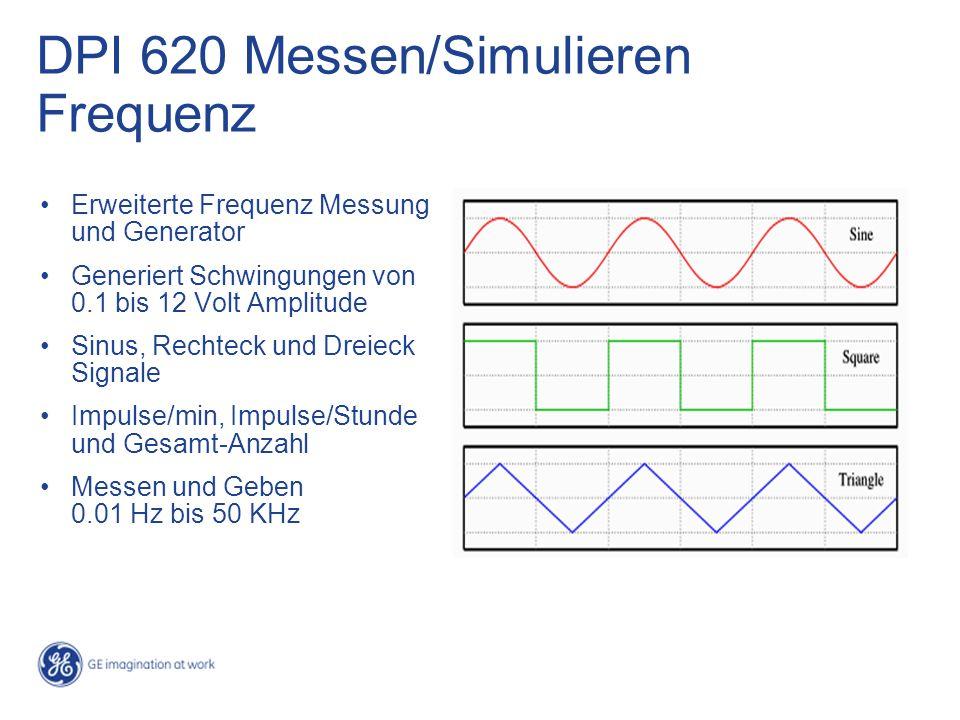 Erweiterte Frequenz Messung und Generator Generiert Schwingungen von 0.1 bis 12 Volt Amplitude Sinus, Rechteck und Dreieck Signale Impulse/min, Impulse/Stunde und Gesamt-Anzahl Messen und Geben 0.01 Hz bis 50 KHz DPI 620 Messen/Simulieren Frequenz