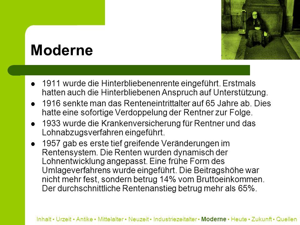 Moderne 1911 wurde die Hinterbliebenenrente eingeführt. Erstmals hatten auch die Hinterbliebenen Anspruch auf Unterstützung. 1916 senkte man das Rente