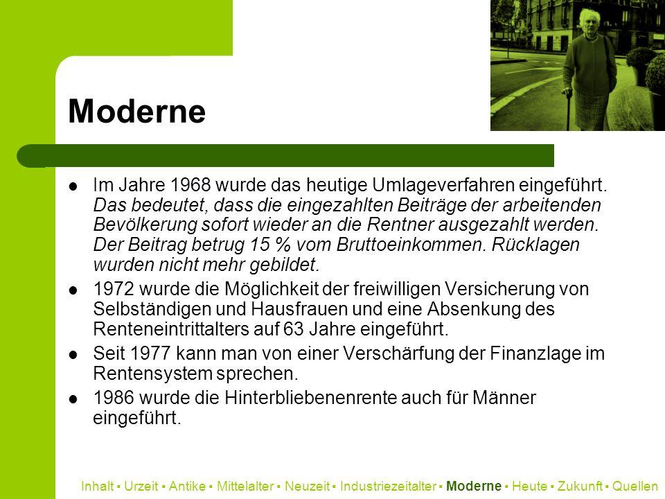Moderne Im Jahre 1968 wurde das heutige Umlageverfahren eingeführt. Das bedeutet, dass die eingezahlten Beiträge der arbeitenden Bevölkerung sofort wi