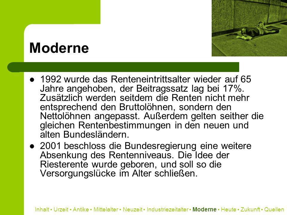 Moderne 1992 wurde das Renteneintrittsalter wieder auf 65 Jahre angehoben, der Beitragssatz lag bei 17%. Zusätzlich werden seitdem die Renten nicht me