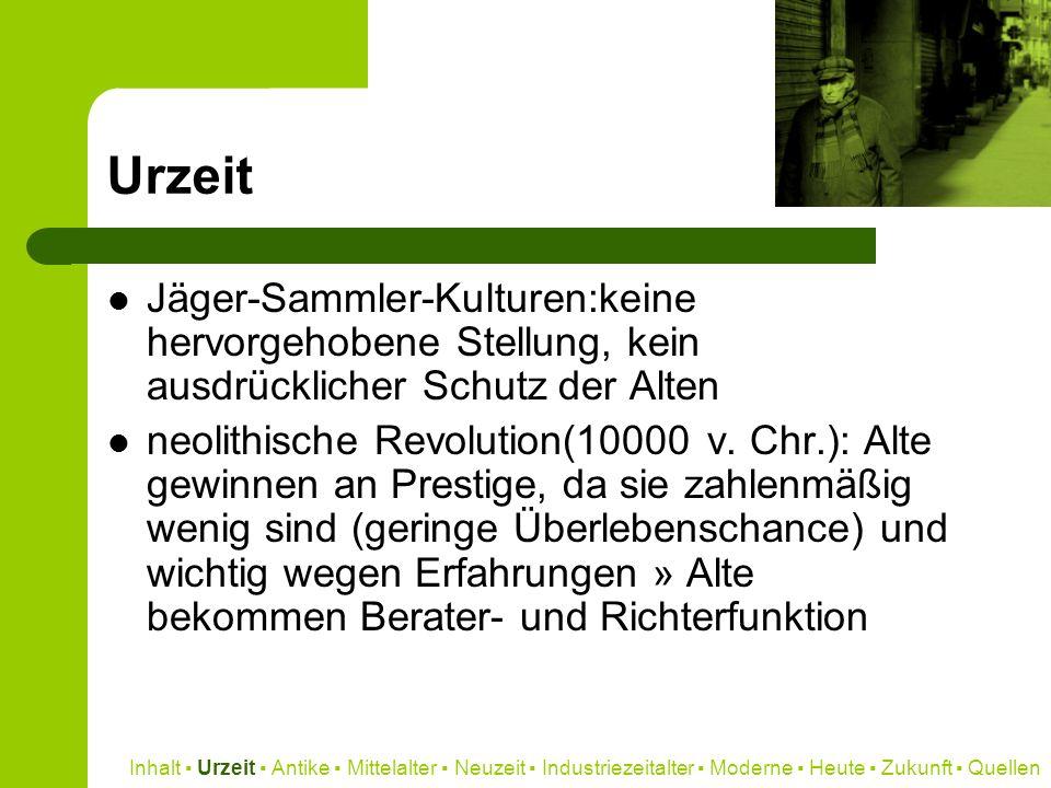 Quellen http://de.wikipedia.org (Hintergrund, Inhalt) http://de.wikipedia.org http://www.walter-hermann.de (Hintergrund) http://www.walter-hermann.de http://www.archaeologie-online.de (Hintergrund) http://www.archaeologie-online.de http://www.zeit.de (Inhalt) http://www.zeit.de http://www.klinge-versicherungen.de (Inhalt) http://www.klinge-versicherungen.de http://www.flickr.com (Grafik) http://www.flickr.com Inhalt Urzeit Antike Mittelalter Neuzeit Industriezeitalter Moderne Heute Zukunft Quellen