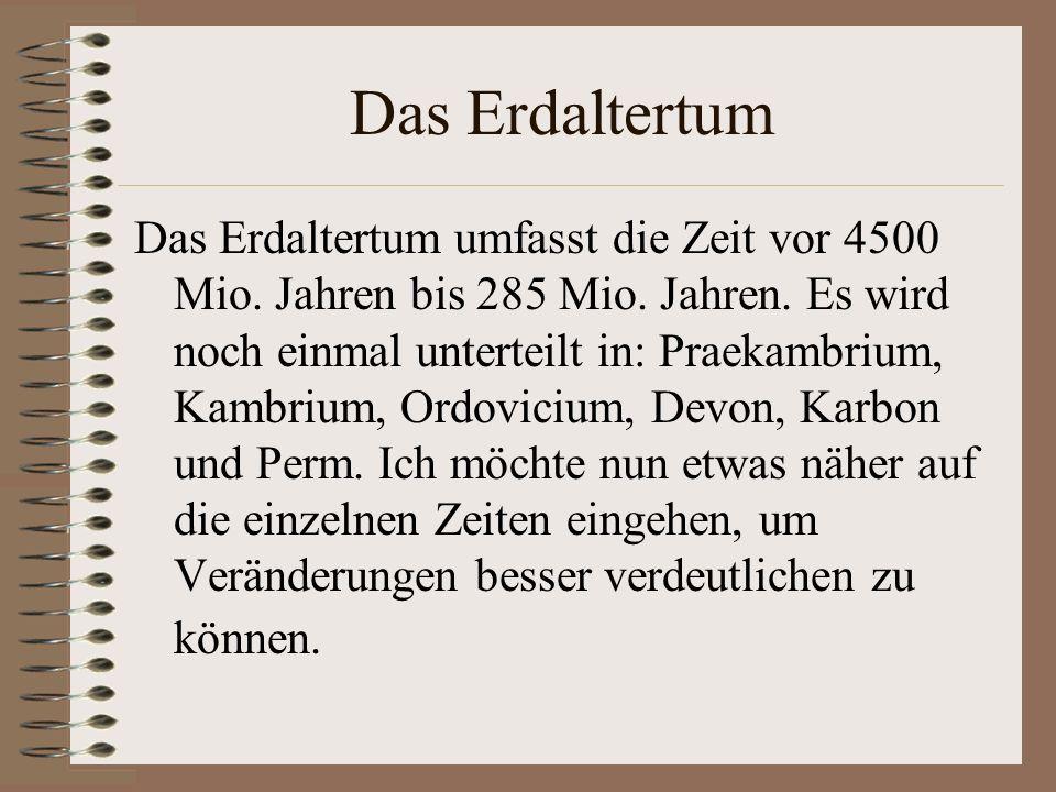 Das Erdaltertum Das Erdaltertum umfasst die Zeit vor 4500 Mio. Jahren bis 285 Mio. Jahren. Es wird noch einmal unterteilt in: Praekambrium, Kambrium,