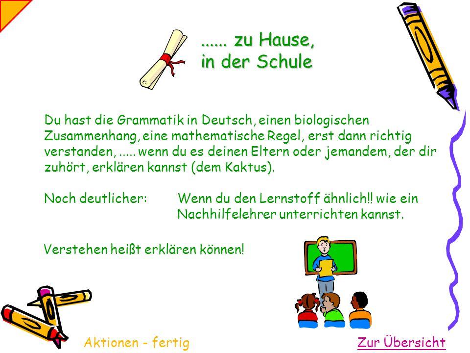 Du hast die Grammatik in Deutsch, einen biologischen Zusammenhang, eine mathematische Regel, erst dann richtig verstanden,........... zu Hause, in der