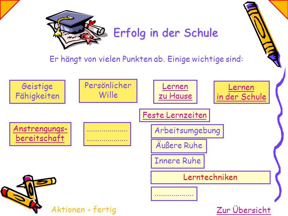 Geistige Fähigkeiten Persönlicher Wille Lernen zu Hause Lernen in der Schule Feste Lernzeiten Arbeitsumgebung Innere Ruhe Äußere Ruhe Lerntechniken...