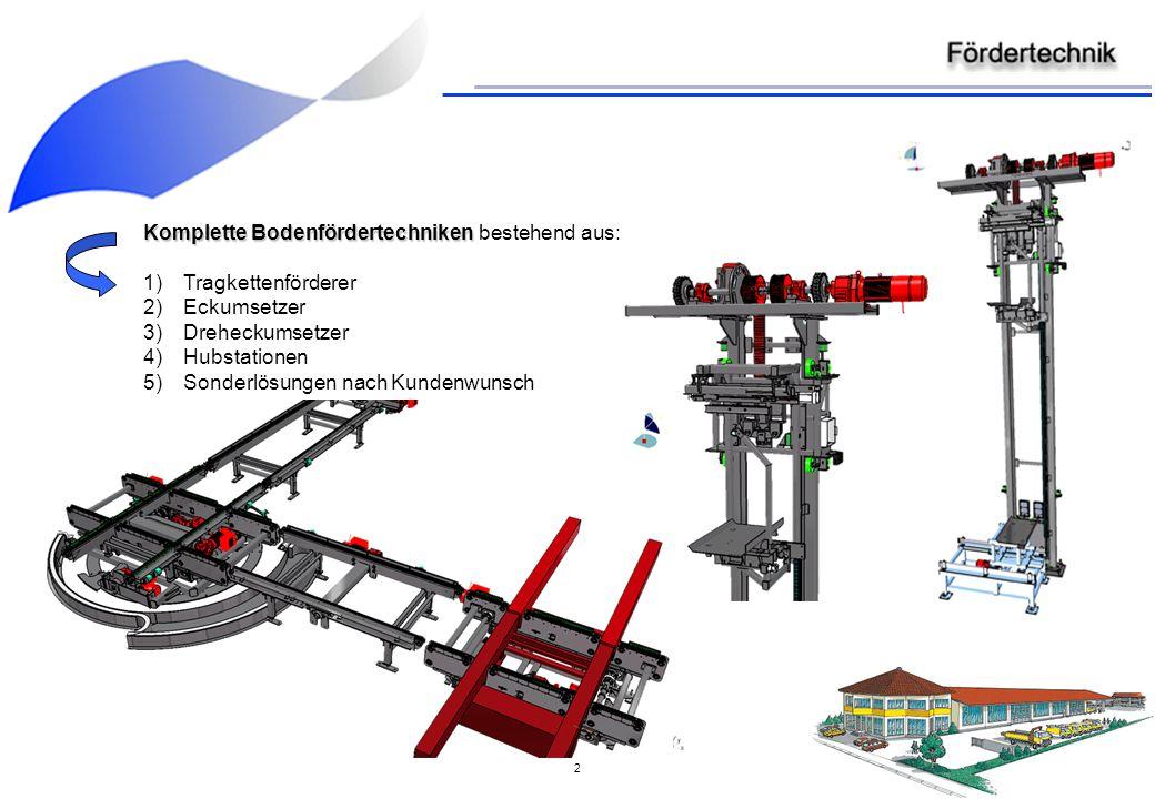 2 Komplette Bodenfördertechniken Komplette Bodenfördertechniken bestehend aus: 1)Tragkettenförderer 2)Eckumsetzer 3)Dreheckumsetzer 4)Hubstationen 5)Sonderlösungen nach Kundenwunsch