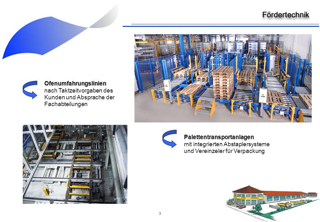 3 Ofenumfahrungslinien nach Taktzeitvorgaben des Kunden und Absprache der Fachabteilungen Palettentransportanlagen mit integrierten Abstaplersysteme und Vereinzeler für Verpackung