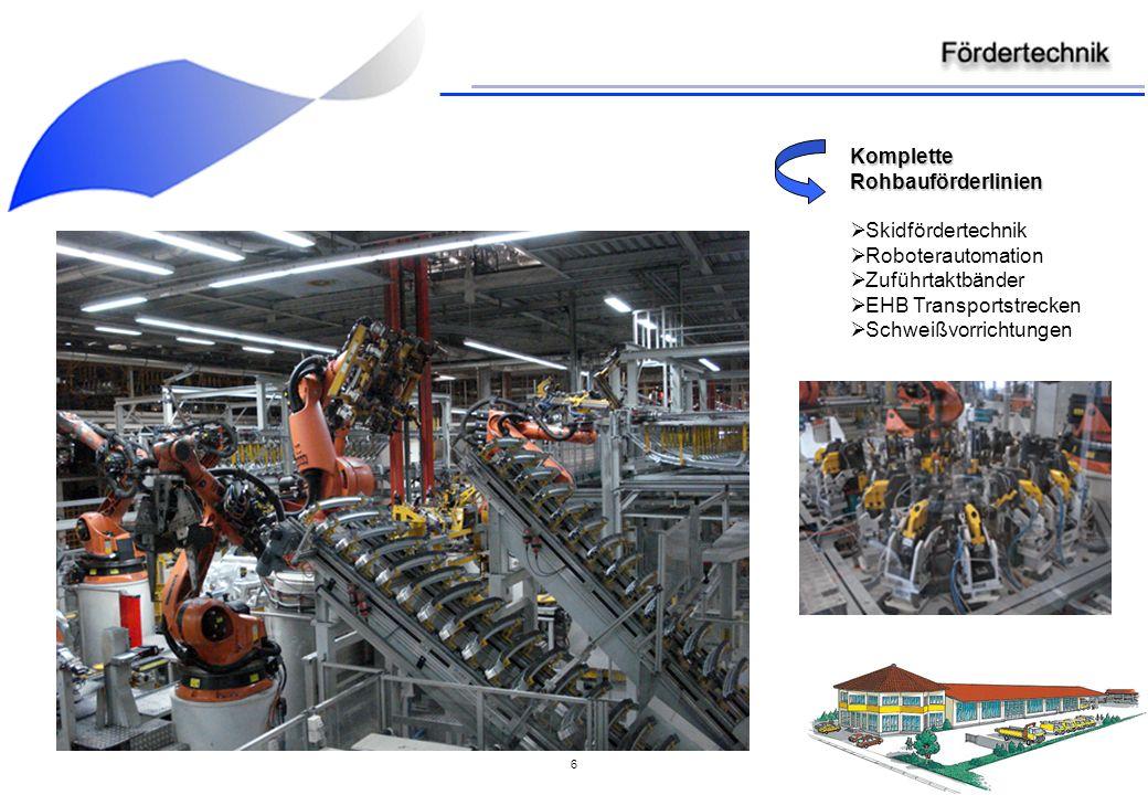6 Komplette Rohbauförderlinien Skidfördertechnik Roboterautomation Zuführtaktbänder EHB Transportstrecken Schweißvorrichtungen