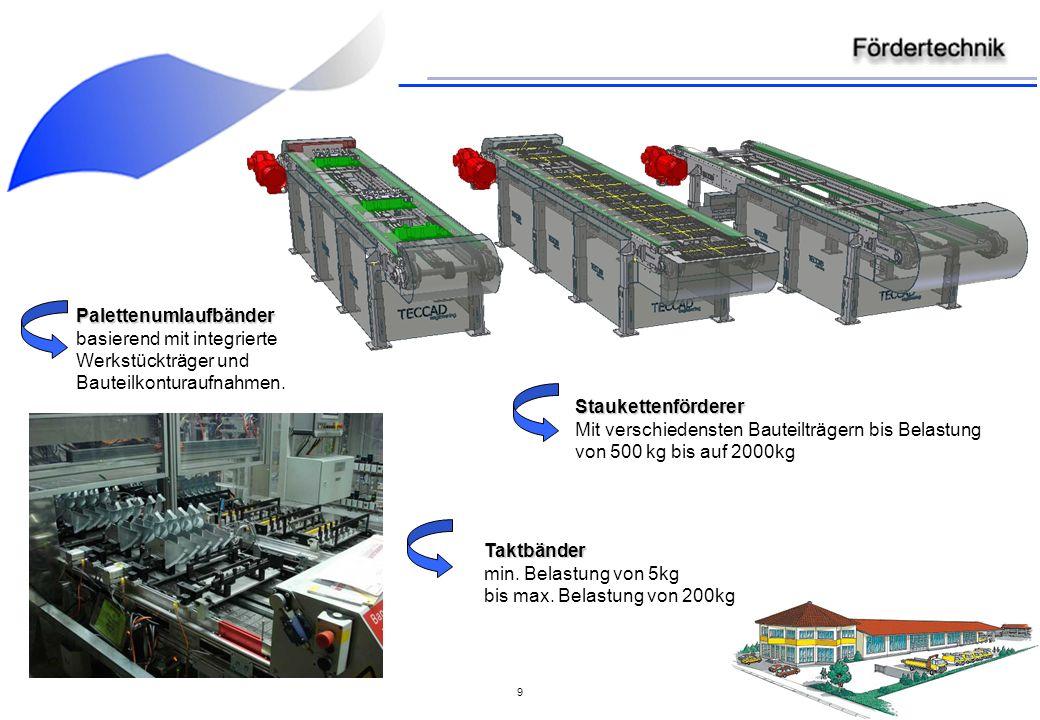 9 Palettenumlaufbänder basierend mit integrierte Werkstückträger und Bauteilkonturaufnahmen.