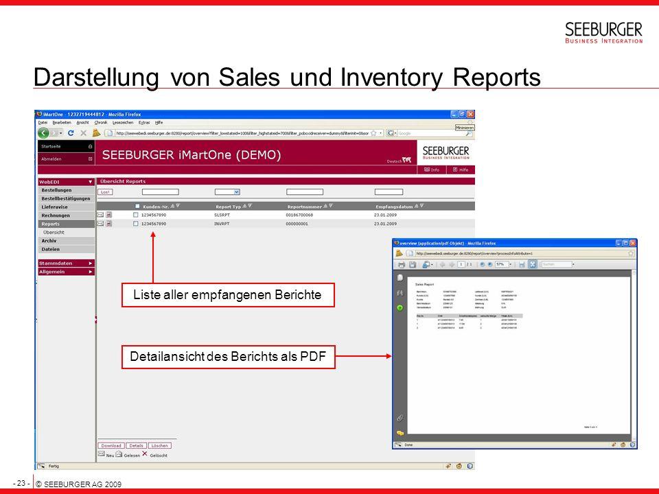 - 23 - © SEEBURGER AG 2009 Darstellung von Sales und Inventory Reports Liste aller empfangenen Berichte Detailansicht des Berichts als PDF