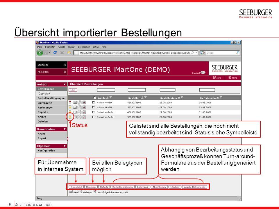 - 5 - © SEEBURGER AG 2009 Übersicht importierter Bestellungen Gelistet sind alle Bestellungen, die noch nicht vollständig bearbeitet sind. Status sieh
