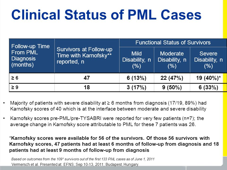 Clinical Status of PML Cases Follow-up Time From PML Diagnosis (months) Survivors at Follow-up Time with Karnofsky** reported, n Functional Status of