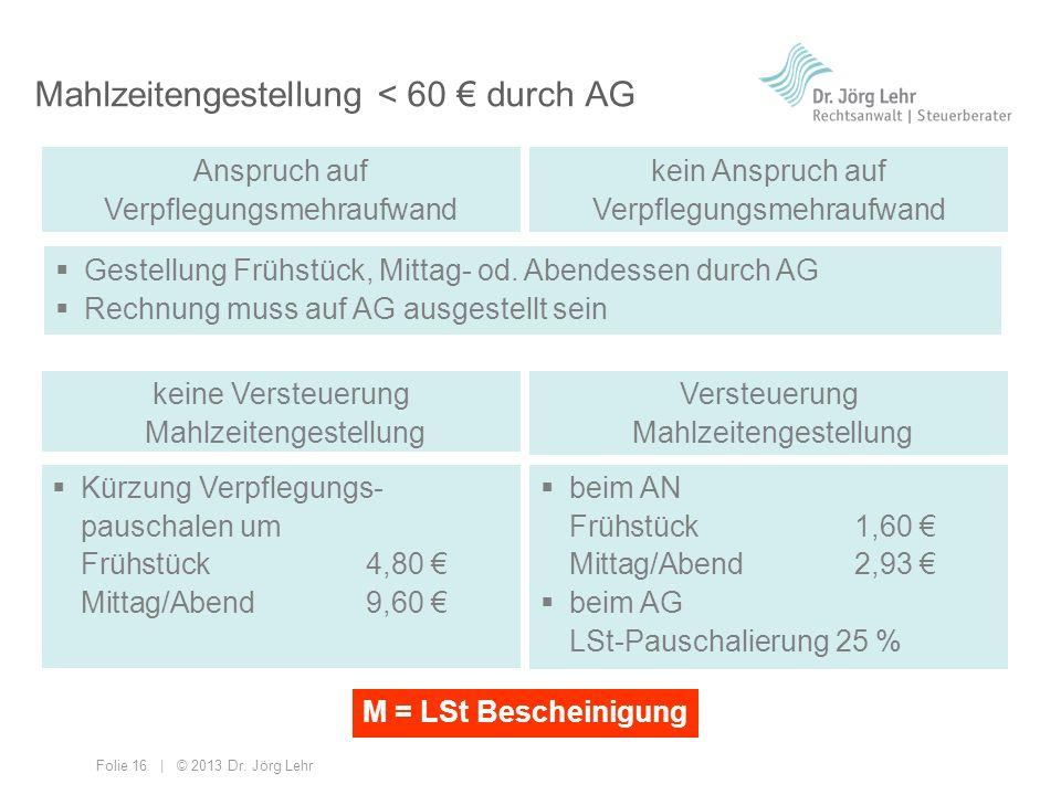 Folie 16 | © 2013 Dr. Jörg Lehr Mahlzeitengestellung < 60 durch AG Gestellung Frühstück, Mittag- od. Abendessen durch AG Rechnung muss auf AG ausgeste