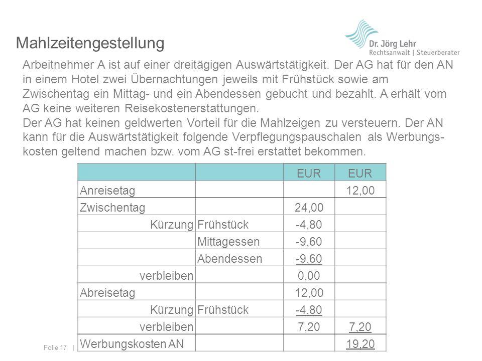 Folie 17 | © 2013 Dr. Jörg Lehr Mahlzeitengestellung Arbeitnehmer A ist auf einer dreitägigen Auswärtstätigkeit. Der AG hat für den AN in einem Hotel