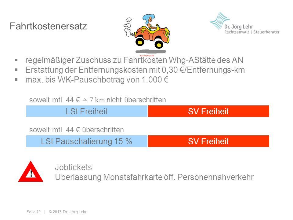 Folie 19 | © 2013 Dr. Jörg Lehr Fahrtkostenersatz regelmäßiger Zuschuss zu Fahrtkosten Whg-AStätte des AN Erstattung der Entfernungskosten mit 0,30 /E