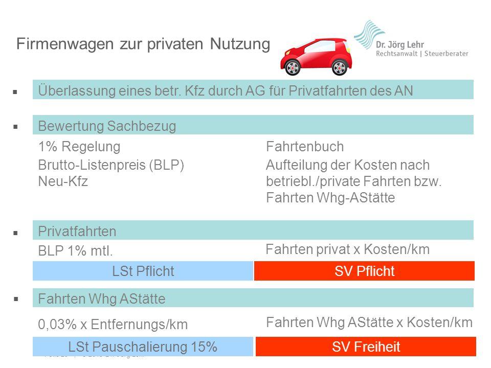 Folie 20 | © 2013 Dr. Jörg Lehr Ü Ü Ü Ü Firmenwagen zur privaten Nutzung Überlassung eines betr. Kfz durch AG für Privatfahrten des AN 1% Regelung Bew