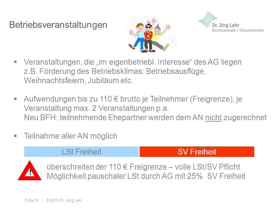 Folie 31 | © 2013 Dr. Jörg Lehr Betriebsveranstaltungen Veranstaltungen, die im eigenbetriebl. Interesse des AG liegen z.B. Förderung des Betriebsklim