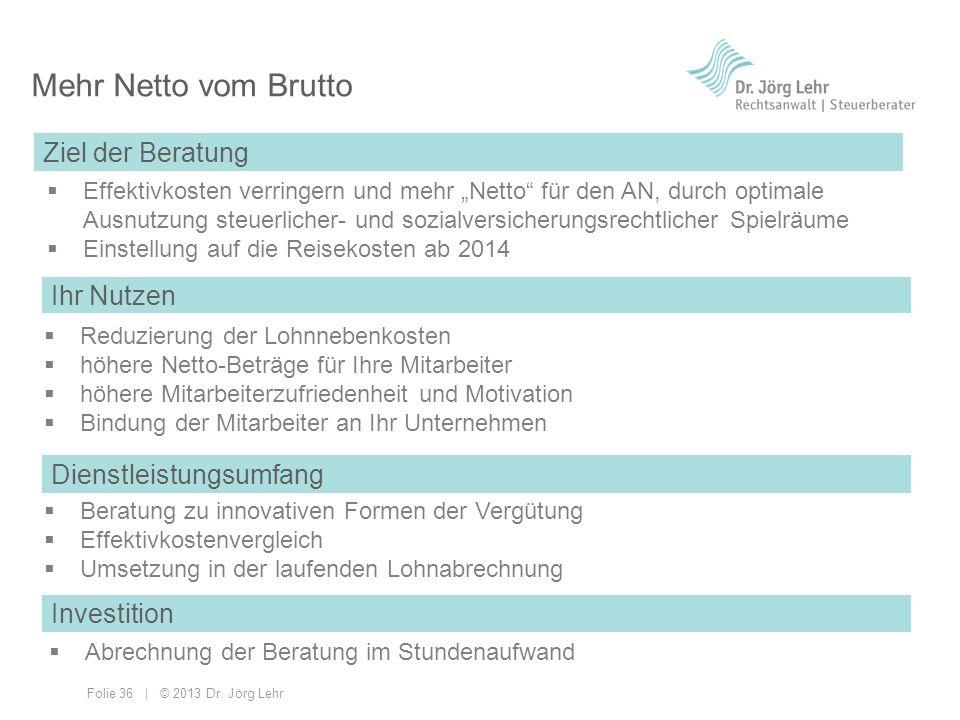 Folie 36 | © 2013 Dr. Jörg Lehr Mehr Netto vom Brutto Effektivkosten verringern und mehr Netto für den AN, durch optimale Ausnutzung steuerlicher- und