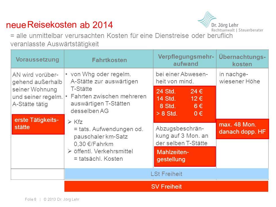Folie 8 | © 2013 Dr. Jörg Lehr = alle unmittelbar verursachten Kosten für eine Dienstreise oder beruflich veranlasste Auswärtstätigkeit Voraussetzung