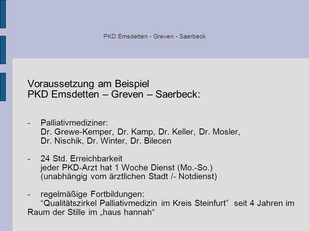 PKD Emsdetten - Greven - Saerbeck Voraussetzung am Beispiel PKD Emsdetten – Greven – Saerbeck: -Palliativmediziner: Dr. Grewe-Kemper, Dr. Kamp, Dr. Ke