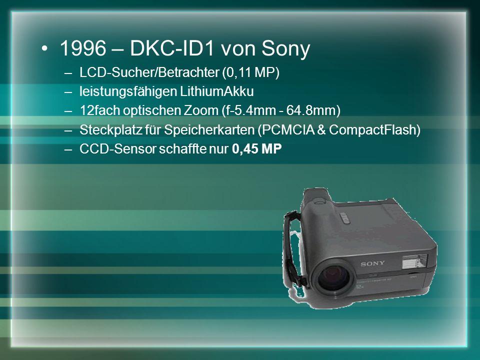 1996 – DKC-ID1 von Sony –LCD-Sucher/Betrachter (0,11 MP) –leistungsfähigen LithiumAkku –12fach optischen Zoom (f-5.4mm - 64.8mm) –Steckplatz für Speicherkarten (PCMCIA & CompactFlash) –CCD-Sensor schaffte nur 0,45 MP