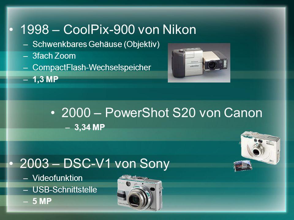 1998 – CoolPix-900 von Nikon –Schwenkbares Gehäuse (Objektiv) –3fach Zoom –CompactFlash-Wechselspeicher –1,3 MP 2000 – PowerShot S20 von Canon –3,34 MP 2003 – DSC-V1 von Sony –Videofunktion –USB-Schnittstelle –5 MP