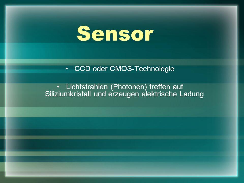 Sensor CCD oder CMOS-Technologie Lichtstrahlen (Photonen) treffen auf Siliziumkristall und erzeugen elektrische Ladung