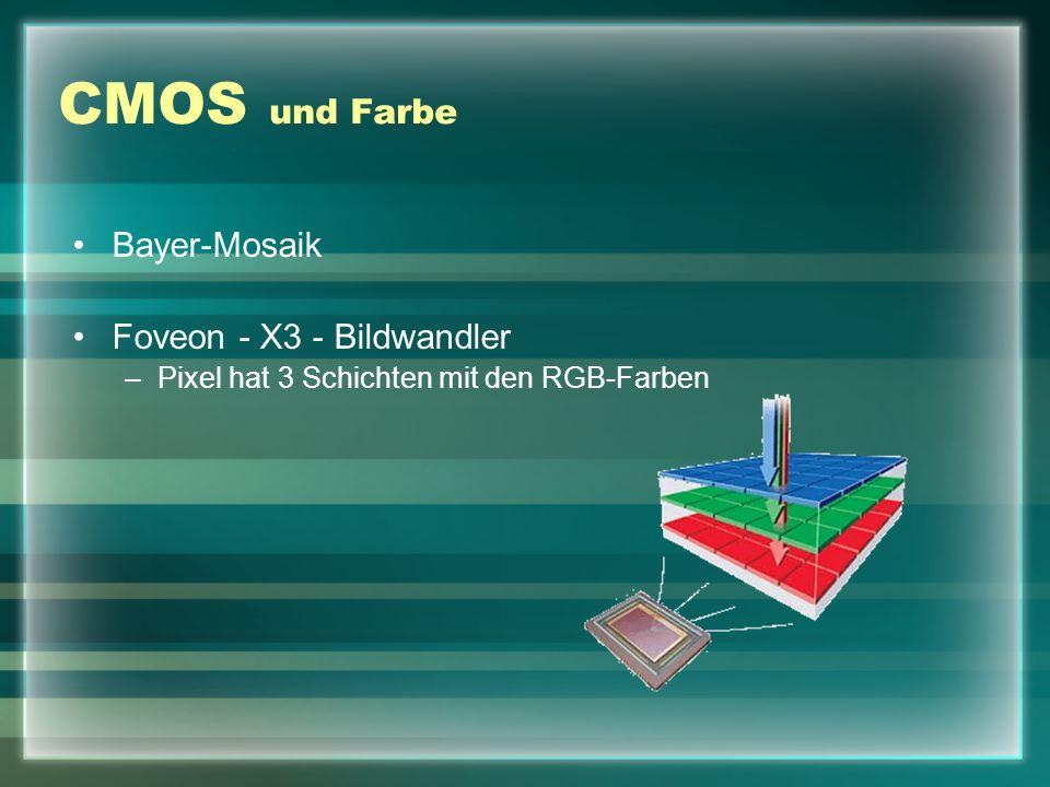 CMOS und Farbe Bayer-Mosaik Foveon - X3 - Bildwandler –Pixel hat 3 Schichten mit den RGB-Farben