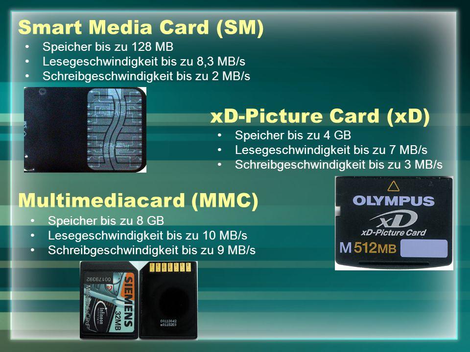 Smart Media Card (SM) Speicher bis zu 128 MB Lesegeschwindigkeit bis zu 8,3 MB/s Schreibgeschwindigkeit bis zu 2 MB/s xD-Picture Card (xD) Speicher bis zu 4 GB Lesegeschwindigkeit bis zu 7 MB/s Schreibgeschwindigkeit bis zu 3 MB/s Multimediacard (MMC) Speicher bis zu 8 GB Lesegeschwindigkeit bis zu 10 MB/s Schreibgeschwindigkeit bis zu 9 MB/s