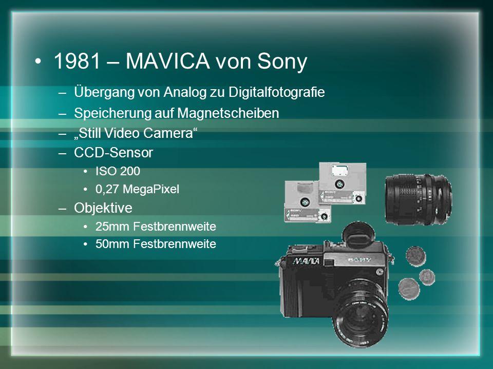 1981 – MAVICA von Sony –Übergang von Analog zu Digitalfotografie –Speicherung auf Magnetscheiben –Still Video Camera –CCD-Sensor ISO 200 0,27 MegaPixel –Objektive 25mm Festbrennweite 50mm Festbrennweite