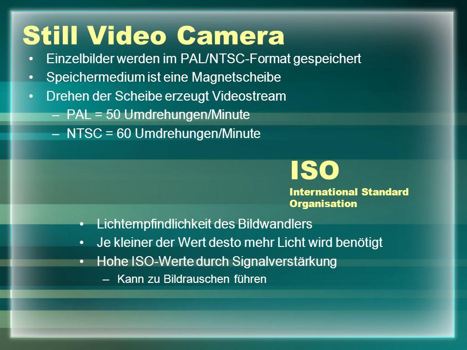 Still Video Camera Einzelbilder werden im PAL/NTSC-Format gespeichert Speichermedium ist eine Magnetscheibe Drehen der Scheibe erzeugt Videostream –PAL = 50 Umdrehungen/Minute –NTSC = 60 Umdrehungen/Minute ISO International Standard Organisation Lichtempfindlichkeit des Bildwandlers Je kleiner der Wert desto mehr Licht wird benötigt Hohe ISO-Werte durch Signalverstärkung –Kann zu Bildrauschen führen
