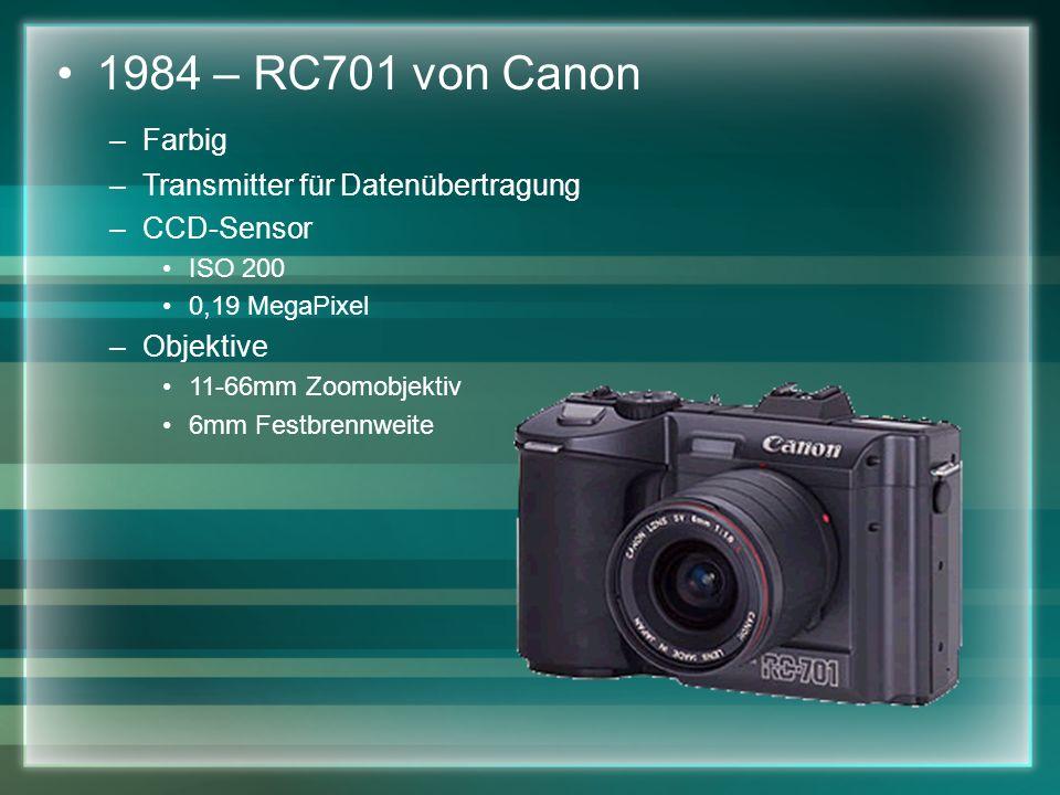 1984 – RC701 von Canon –Farbig –Transmitter für Datenübertragung –CCD-Sensor ISO 200 0,19 MegaPixel –Objektive 11-66mm Zoomobjektiv 6mm Festbrennweite