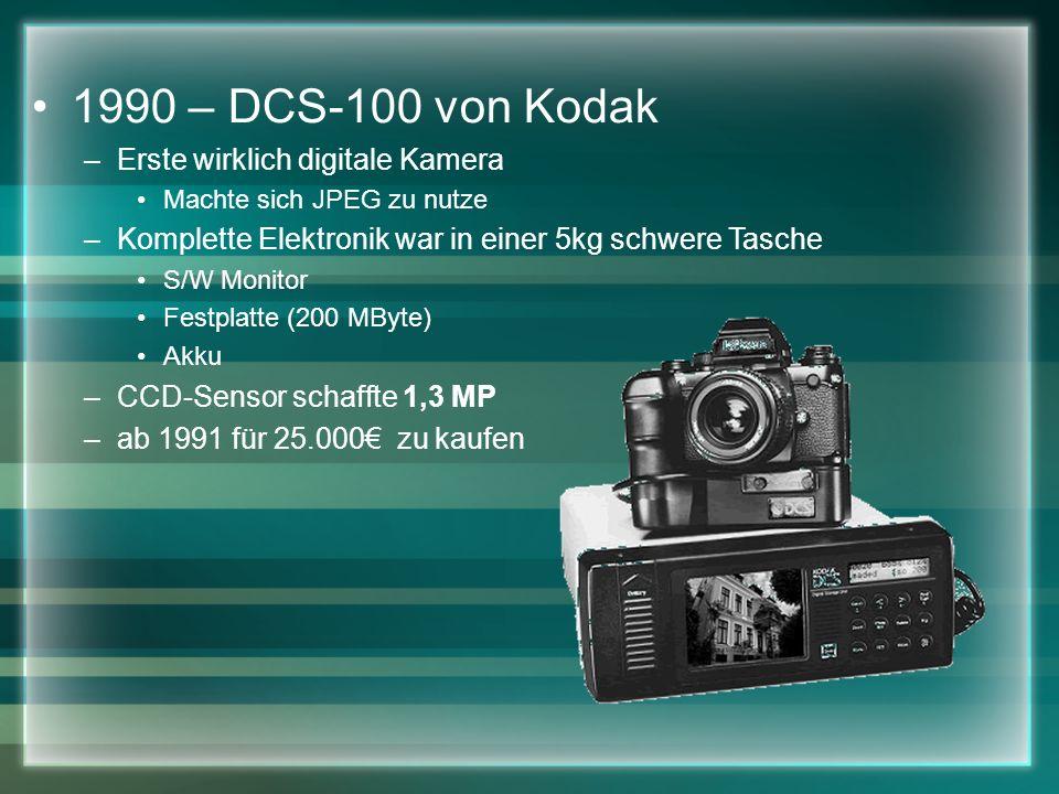 1990 – DCS-100 von Kodak –Erste wirklich digitale Kamera Machte sich JPEG zu nutze –Komplette Elektronik war in einer 5kg schwere Tasche S/W Monitor Festplatte (200 MByte) Akku –CCD-Sensor schaffte 1,3 MP –ab 1991 für 25.000 zu kaufen